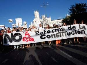 Making themselves heard: Protesters in Madrid against the reform of the constitution.