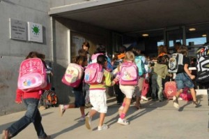 Catalan children arriving at school.