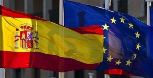 The Spanish and EU flags.