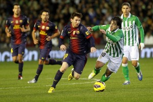 Leo Messi in action against Betis