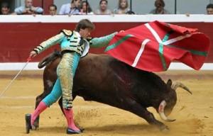 The Basque flag used by a matador during a bullfight in San Sebastián.