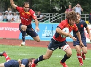 Spain's rugby team in action.